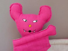Gigi 11  Bat pink Plush Toy stuffed Doll Plushie by jipijipi, €48.00