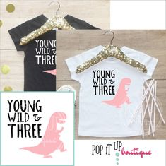Young Wild & Three Dinosaur Birthday Girl Shirt / Baby Girl Clothes 3 Year Old Outfit Third Birthday TShirt Birthday Party Toddler 251 3rd Birthday Party For Girls, Girl Dinosaur Birthday, Birthday Party Themes, Baby Birthday, Birthday Ideas, Dinosaur Party, Husband Birthday, Birthday Nails, Birthday Crafts