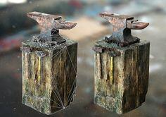 ArtStation - Rusty Anvil on Wooden Block, Yan Ho Kung