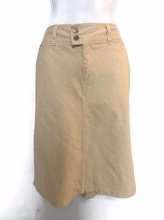 Women's Liz Claiborne Crazy Horse Khaki Beige Denim Skirt Size 10 #CrazyHorsebyLizClaiborne #StraightPencil