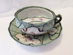 Antique Jewelled Mustache Cup and Saucer ***ALSO SEE Vintage Jewelry at: http://MyClassicJewelry.com/shop