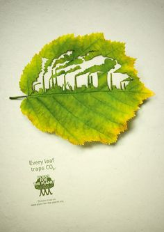An inspirational ad campaign by Hamburg, Germany based Advertising Agency Legas Delaney for Plant for the Planet, using cut leaves symbolizing their ability to trap CO2. Art Directors: Felix Boeck, Robert Westphal; Illustrator: Lorenzo Durán, Nadine Hoenow