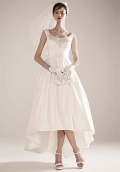 Oleg Cassini at David's Bridal  CKP558  Silhouette: A-Line Neckline: Off-the-Shoulder Gown Length: Floor, Short Fabric: Satin Color: White or Ivory Size: 0 - 26 Price: $$