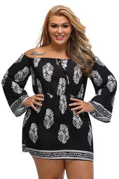 Black Floral Print Bardot Neck Off-shoulder Plus Size Dress   plussizedresses Work Outfits 2b37fe316183