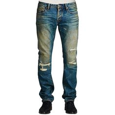 Cult Of Individuality Rebel Straight Leg Jeans (21740 RSD) ❤ liked on Polyvore featuring men's fashion, men's clothing, men's jeans and blue