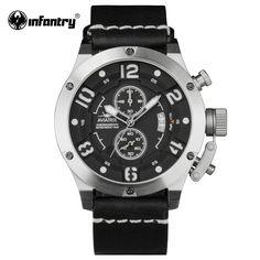 US $63.74 - INFANTRY Aviatrix Men Aviator Watch Flyback Chronograph Male Clock 100M Waterproof Black Military Watch Relogio Masculino
