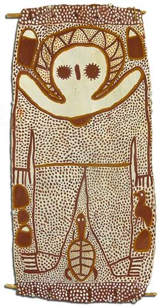 Wandjina (Circa 2000)  Ochre on Bark  By Lily Karadada  The bark is 500 x 1080mm and is archivally mounted in a frame with the overall dimensions of 680 x 1260mm. The bark is in exceptional conditional and this is a rare example of Lily's earlier work.  $25,000.00.  http://arthousebroome.com.au/on-line-store/Kimberley-Art/kimberley-fine-art/wandjina-paintings/lily-karadada-rare-wandjina-on-bark