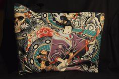 Hand made Alexandra Henry Zen Charmer fabric tote bag.  Stunning fabric.  Inside pocket.  £16.50.  UK postage rate - £2.50 for 1st class recorded delivery. #rockabilly #gothic #skulls #punk #evening bag #handmade #tattoo #Alexandra Henry #zen  #handbag