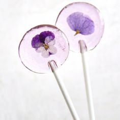 Lollies, sugar violet pops.