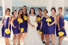 Purple dress. Yellow flowers