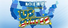 Quiz your child on the shapes of the states, the name of the states and their capital cities in the memory-style game US States Match'Em Up™. #Games #WildTangent #Fun #Memory #Concentration #Kids