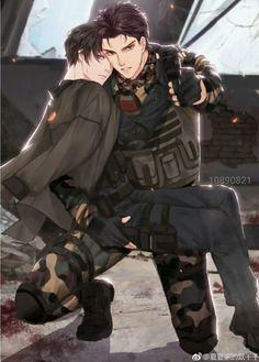 Ohh the over protective boyfriend! Anime Sexy, Hot Anime Boy, Anime Love, Cute Gay Couples, Anime Couples, Anime Military, Military Soldier, Handsome Anime Guys, Manga Boy