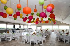 Hanging lanterns incorporate color at pavilion at sanderling duck nc