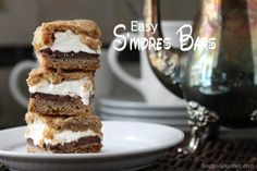 Easy S'mores Bars Cookie recipe, the best potluck dessert full of chocolate, marshmallow, and graham crackers. A fun s'more cookie for a summer party!