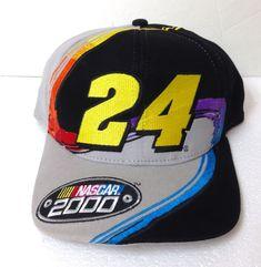 RARE! vtg JEFF GORDON NASCAR 2000  24 SNAPBACK HAT gray black BIG LOGO cap  chase  ChaseAuthentics  BaseballCap c2c845c02dde
