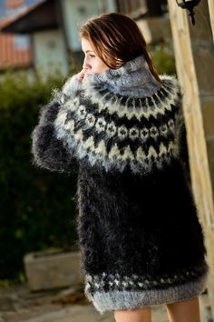 Nordic Pullover, Handgestrickte Pullover, Nordic Sweater, Fluffy Sweater, Mohair Sweater, Turtleneck, Hand Knitted Sweaters, Oversized Sweaters, Women's Sweaters