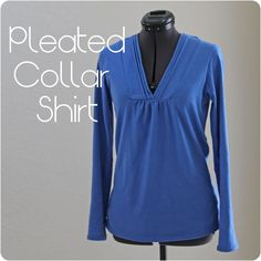 Pleated Collar Women's T-Shirt Shirt Tutorial with Free Pattern - Melly Sews