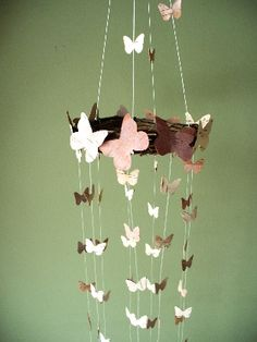 butterfly mobile birch bark small and large butterflies