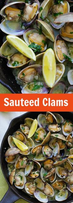 Sauteed Clams – Skillet clams with loads of garlic butter, white wine and parsley. The easiest sauteed clams recipe ever, 15 mins to make Healthy Dinner Ideas for Delicious Night & Get A Health Deep Sleep Clam Recipes, Seafood Recipes, Dinner Recipes, Cooking Recipes, Mussel Recipes, Garlic Recipes, Dinner Ideas, Seafood Dinner, Fish And Seafood