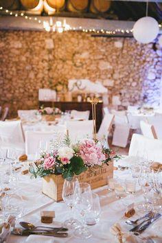 déco de table mariage, centre de table avec fleurs roses
