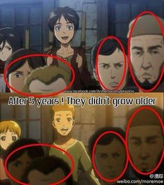 """""""After 5 years! They didn't grow any older"""" [Humor] #eren #mikasa"""