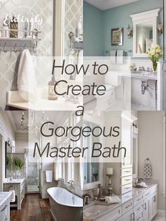 Simple ideas for creating a gorgeous master bathroom. Make your bathroom a relaxing retreat!