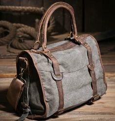 4a78a3e957f1 Cotton canvas messenger bag Leather Shoulder Bag
