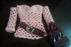 PAP e grafico de Blusa de crochê para Barbie, bolsa e cinto criados por Pecunia Milliom