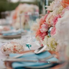 light pink and light blue wedding reception - Google Search