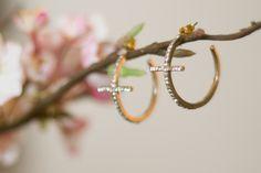 Jeweled Cross Earrings $14