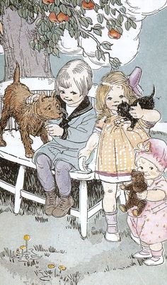 Vintage 1920s school reading book illustration children baby dog cat teddy bear…