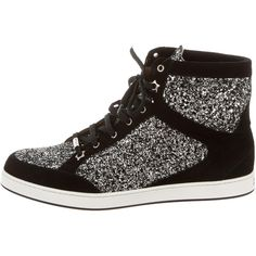 Pre-owned Jimmy Choo Sequin High-Top Sneakers ($325) ❤ liked on Polyvore featuring shoes, sneakers, black, lace up sneakers, suede sneakers, jimmy choo sneakers, suede high top sneakers and black sneakers