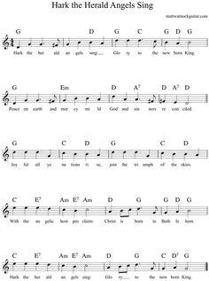 hark the herald angels sing guitar chords 1 Christmas Chords, Christmas Carols Songs, Classic Christmas Songs, Christmas Sheet Music, Easy Guitar Chords, Cool Guitar, Ukulele, Guitar Lessons For Kids, Uke Songs