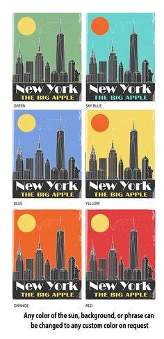 New York City Skyline Poster New York City Art by FlyGraphics