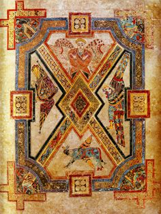Book of Kells Man, Lion, Bull and Eagle с. 800 From the Book of Kells Illuminated manuscript Trinity College, Dublin Medieval Books, Medieval Manuscript, Medieval Art, Book In Latin, The Book, Book Of Kells, Illuminated Letters, Illuminated Manuscript, Rome Antique