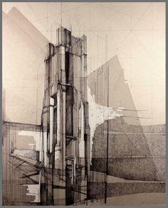 """Apoptosis"" Megan McGlynn architectural drawing, pen and ink www.meganmcglynn.com"