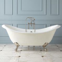 "71"" Gretta Cast Iron Double-Slipper Clawfoot Tub"