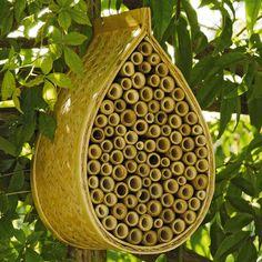 Mason Bee House. Mason bees don't sting and are 100x better pollinators that honeybees. Viva la Mason Bee!