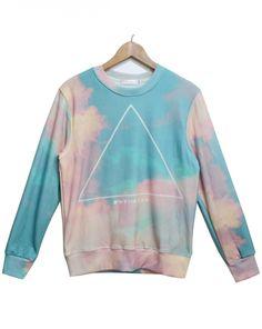 ad06fcc9c954 Blue Long Sleeve Sky Triangle Print Sweatshirt