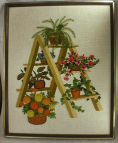 Plant Ladder Finished Crewel Framed Needlepoint Vintage 1977 Pattern #2332