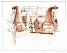 Glenburgie Stillroom drawing for a large commission of fifteen paintings of distilleries