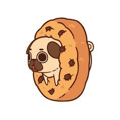 Puglie Cookie Art Print by Puglie Pug - X-Small Cute Kawaii Drawings, Cute Animal Drawings, Kawaii Art, Pug Wallpaper, Cartoon Wallpaper, Wallpaper Samsung, Disney Wallpaper, Wallpaper Quotes, Wallpaper Backgrounds