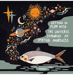Getting in flow with the Universe Art Print by Asja Boros - X-Small Framed Art Prints, Canvas Prints, Good Vibe, Happy Words, Spiritual Awareness, Universe Art, Bullet Journal Inspo, Hippie Art, Posca