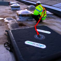Guardian Fall Protection - EcoAnchor at Panther East Fall Protection Equipment, Roofing Tools, Construction Safety, Safety Training, Safety First, Workplace Safety, Health And Safety, Climbing, Craftsman