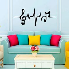Music Puls Treble Clef Bass Clef Heart Wall Decal Vinyl Sticker Wall Decor Home Interior Design Art Murals Wall Decor Stickers, Vinyl Wall Decals, Art Mural, Wall Murals, Home Design, Home Interior Design, Design Art, Design Room, Design Ideas