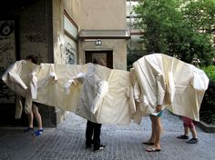 this is an architectural experiment about constructing body enclosures. it originates from the idea of clothing which can host more than one person.