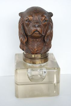 Antique Black Forest Wooden Dog Head w Glass Eyes on Crystal Glass Inkwell
