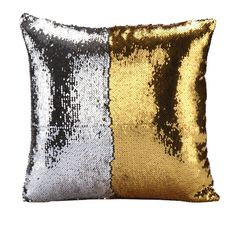 Hoomall Sofa Throw Pillow Case Cushion Covers Decorative Double Color Glitter Sequins with Zipper 16'x16' Gold Silver ** Discover this special deal, click the image : Decorative Pillows