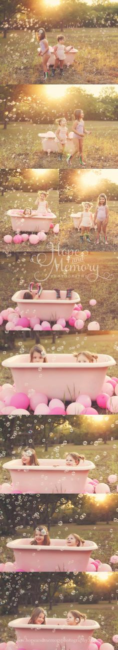 Little girl photo session, tub, bubble