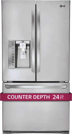 LG - 24.0 Cu. Ft. Counter-Depth French Door Refrigerator with Thru-the-Door Ice and Water - Stainless Steel - Alt_View_Standard_1
